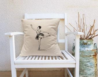 Ballerina Decorative Pillow, Dancer Square Pillow, ballet Art, Throw Pillow, Ballerina Canvas Pillow, Square Cushion, Dance Teacher Gift