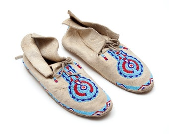 Cheyenne / Arapaho Indian Moccasins - Mid-Century - Rawhide Leather Soles and Braintan Leather Uppers - Red, White, Blue Beading