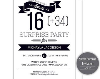 Sweet 50 (16 + 34) Surprise Birthday Party Invitation Template - Printable --- SKU #C115-I