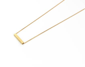 Vintage Brass Rectangle Necklace