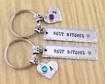 SRA YYX6 Best Bitches Keychain Best Friend Keychain BFF KeyChain Set Broken Heart Keychain Best Bitch Gift-Christmas Gift-Stocking Stuffer