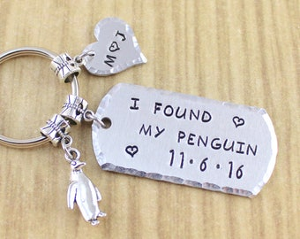Personalized I Found My Penguin Keychain   Penguin Couples Keychain   Penguin Engagement Gift   Ships In 48-72 Hours Monday - Friday