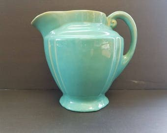 "Vintage Teal green glazed stoneware pitcher, 7 1/2"" tall"