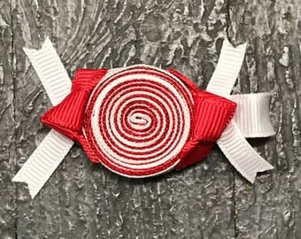 Hair Clip Ribbon Sculpture Headband Bow Candy Peppermint Treat