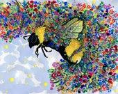 Bumble Bee Garden: 8.5x11 inch Watercolor Art Print