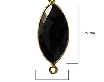 BLACK ONYX MARQUISE 11X22 mm gold double q