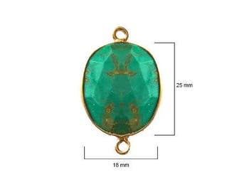 BLUE TURQUOISE OVAL 18X25 mm gold double s