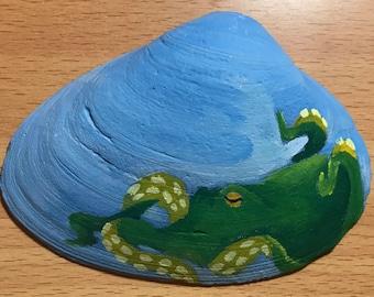 Green Octopus on Shell