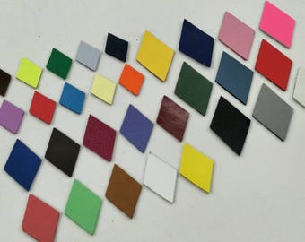 Leather Diamonds, 50 pcs. (25 Pairs), 30mm.  40mm. 50mm. High, Mixed Colors, Leather Diamonds Die Cut, Diamonds Shape, Diamonds Cut Outs.
