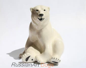 Polar white bear  porcelain figurine,  statue