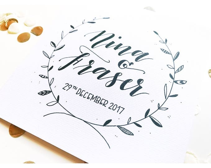 Featured listing image: Wedding card, personalised, calligraphy, typography, wreath, handmade