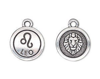 Leo Charm, Antiqued Silver, Astrological Charm, Zodiac Charm, Pendant, 15mm, 1 Each, D1065