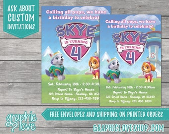 Paw Patrol Skye and Everest Personalized Birthday Invitations | 4x6 or 5x7, Digital or Printed