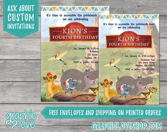 Lion Guard Personalized Birthday Invitations | Any Age, 4x6 or 5x7, Digital or Printed