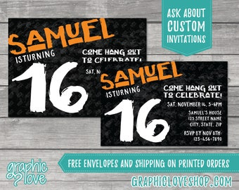 Teen Boy Simple Grunge Birthday Invitation | Any Age, Any Name Color | 4x6 or 5x7, Digital File or Printed