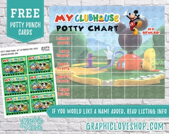 Printable Mickey Mouse Clubhouse Potty Chart, FREE Punch Cards   Disney Junior   Digital JPG Files, Instant download, Files NOT Editable