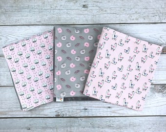Light Pink, Gray and White Rainy Cloud, Lama, or Donut Jersey Baby Blanket and Matching Drool Bibdanas