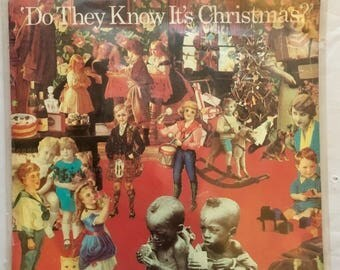 """BAND AID 1984 Do They Know It's Christmas - Feed The World 45 rpm 7"""" w/ Picture Sleeve VG+"""