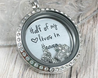 Memorial Locket, Half Of My Heart Lives In Heaven, Loss Of Husband, Sympathy Gift, Remembrance Jewelry, Infant Loss Gift,Hand Stamped Locket
