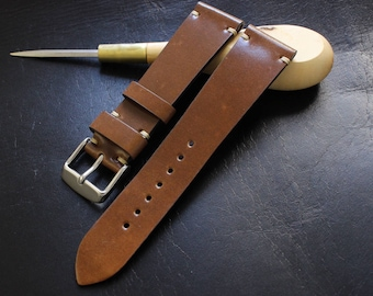 21/18mm Bourbon Horween Shell Cordovan watch band - simple side stitch