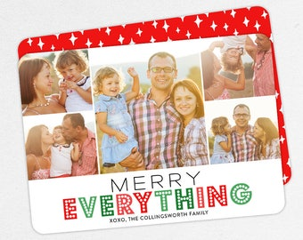 24 HOUR TURNAROUND, Family Holiday Photo Card, Family Christmas Photo Card, Merry Everything, Happy Everything, Printable, Printed, Red, diy