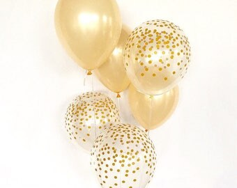 Peach and Gold Confetti Latex Balloons~Baby Shower~ Bridal Shower ~ Wedding Balloons~ Gold Confetti Look Balloon~Bachlorette Party~ Confetti