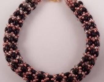 Black and Bronze Beaded Bracelet