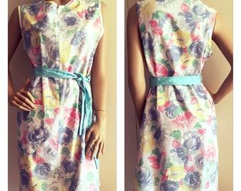 SALE 10% OFF Vintage 80s Dress - Summer Dress - Retro Dress - Floral - Pastel - Medium Large