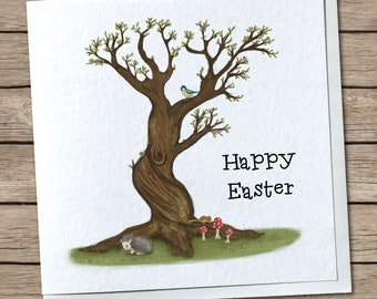 Easter & Spring British Woodland Greetings Card - Happy Easter, Spring Greetings