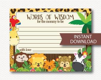 Words of Wisdom Safari Baby Shower Card - Advice for Mom, Jungle Animals, Zoo Animals, Monkey, Giraffe Cute, Neutral Printable Download B132