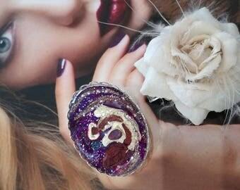 """Large ring """"Nebula"""" hand painted"""