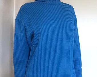 Vintage Blue Lambswool Blend Ribbed Turtleneck Sweater • Vintage Pullover Sweater