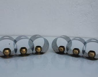 Helen Dryden Chrome And Brass Art Deco Candlesphere , Candle Holders A Pair.