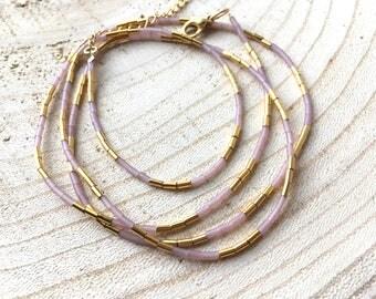 Trio - bracelet, crew neck, long necklace-gold plated - Bohemian