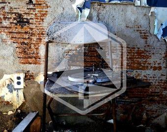 Turntable in Turmoil - Fine Art Urban DJ Music Abandoned Photography Digital Download