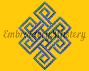 ETERNAL KNOT OUTLINE Embroidery Design. Endless knot embroidery. Buddhism embroidery. Machine embroidery design.Spiritual embroidery pattern