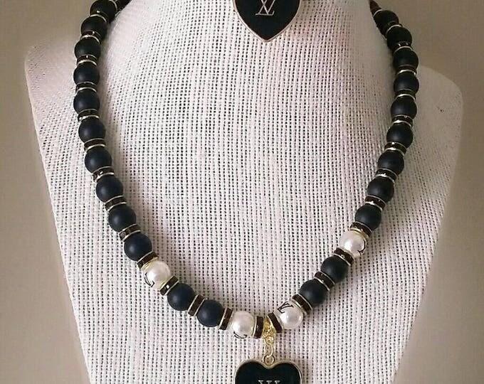 Designer Inspired Matte Black Beaded Necklace Set