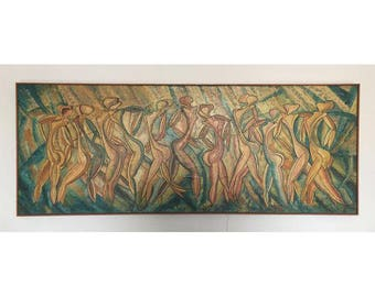 Large Original Painting - Dancing Ladies