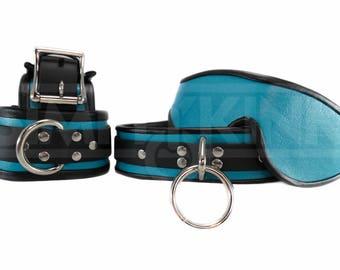 Vegan BDSM Cuffs and Faux Leather Collar in Turquoise Signature