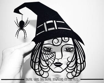 Witch paper cut svg / dxf / eps files and pdf / png printable templates for hand cutting. Digital download. Small commercial use ok.