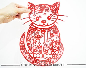 Zentangle Cat paper cut svg / dxf / eps / files and pdf / png printable templates for hand cutting. Download. Small commercial use ok.