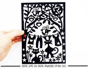 Cat paper cut svg / dxf / eps files and pdf / png printable templates. Digital download. Small commercial use ok.
