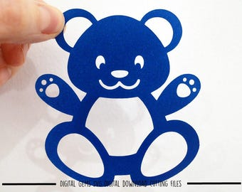 Bear paper cut svg / dxf / eps / files and pdf / png printable templates for hand cutting. Digital download. Commercial use ok.