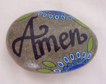 Mandala Message Pebble AMEN Hand Painted Natural Pebble