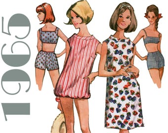 "1960s Bikini Pattern Retro Swimsuit Pattern Bubble Top Shift Dress McCALLS 7796 bust 36"" Bra Top Pattern 2 Piece Swimsuit High Waist Shorts"