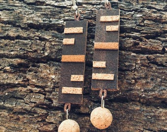Rectangular leather cork earrings with ball-jewelry collection Tribal geometries