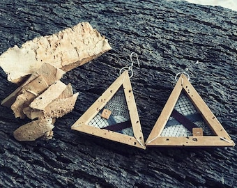 Earrings Triangular Frames Sughero\stoffa artistic recycle-jewellery collection Frames