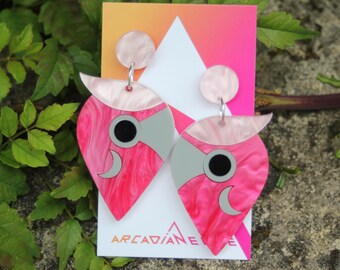 Galah Parrot Bird Earrings - abstract laser cut acrylic plastic