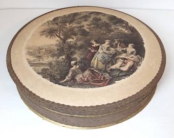 antique large french round cardboard box - candy box with silk decor, edwardian box,  shabby chic box