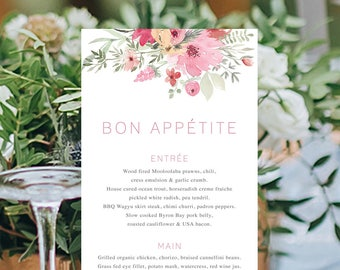 Wedding Menu, Custom Printable Menu, Watercolour Floral, Corporate Menu, Free Font Colour Changes, DIY Wedding, Print Your Own, Bloom Suite